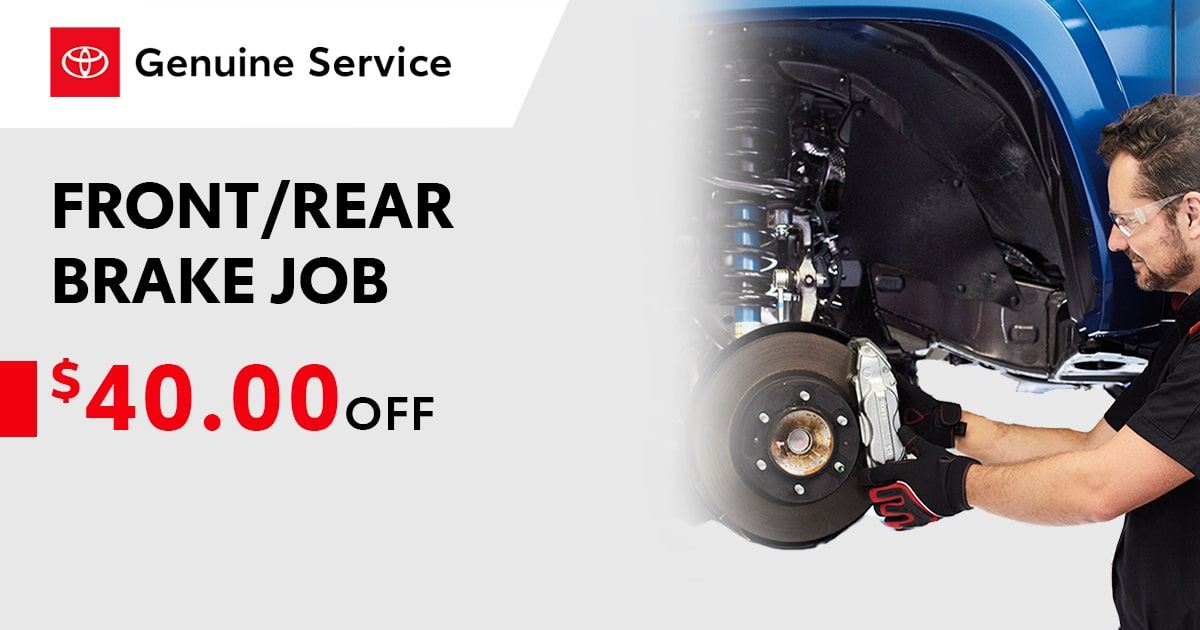 Toyota Front/Rear Complete Brake Job Service Special Coupon
