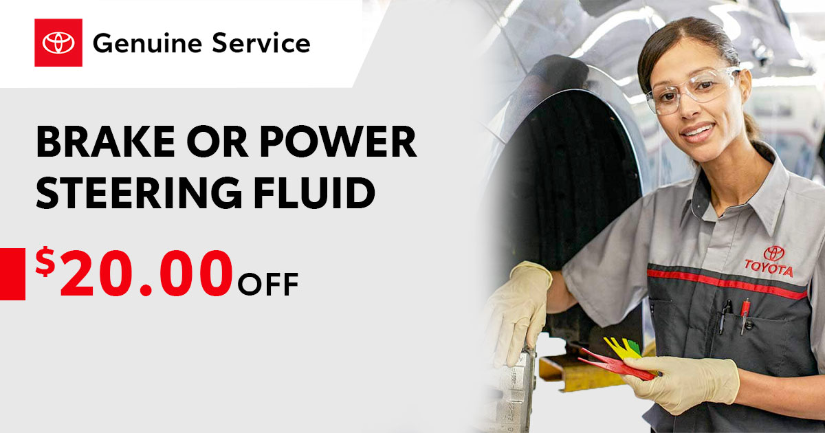 Toyota Brake or Power Steering Fluid Exchange Service Special Coupon