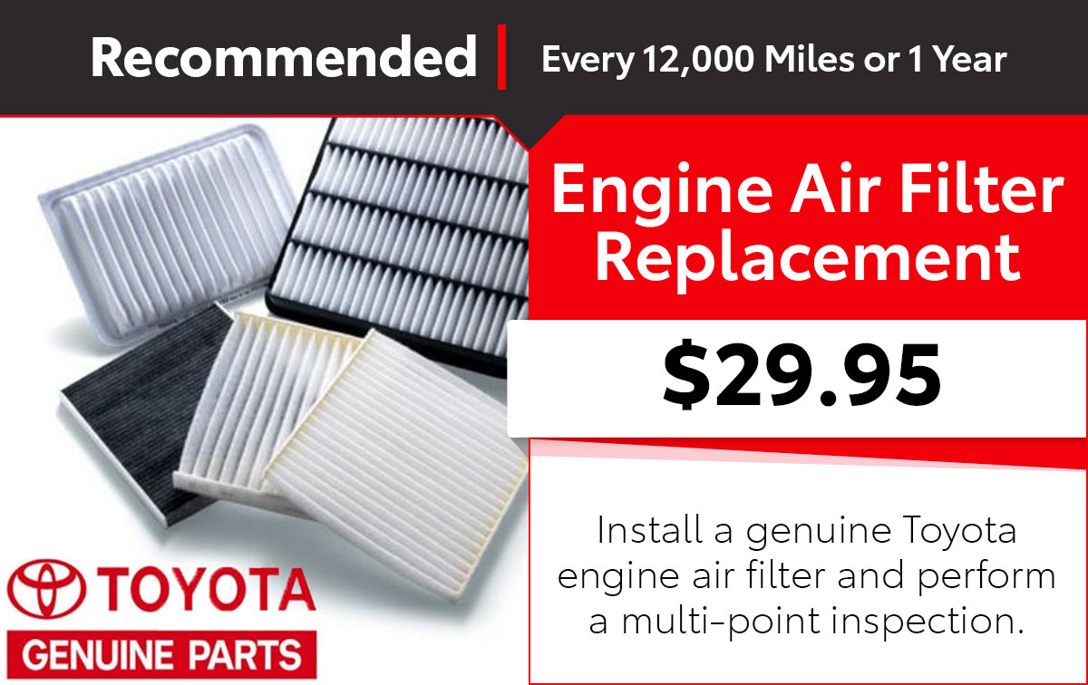 Toyota Engine Air Filter Service Special Coupon