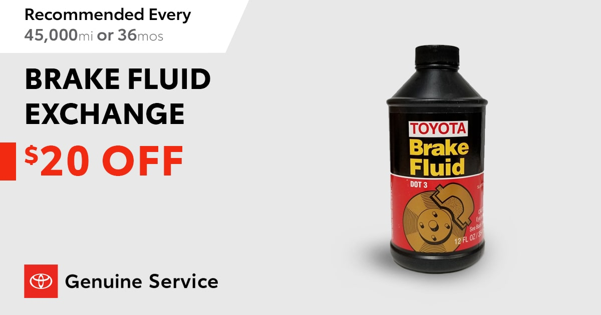 Toyota Brake Fluid Exchange Service Special Coupon