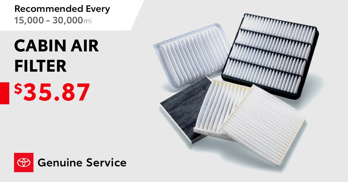 Toyota Cabin Air Filter Replacement Coupon