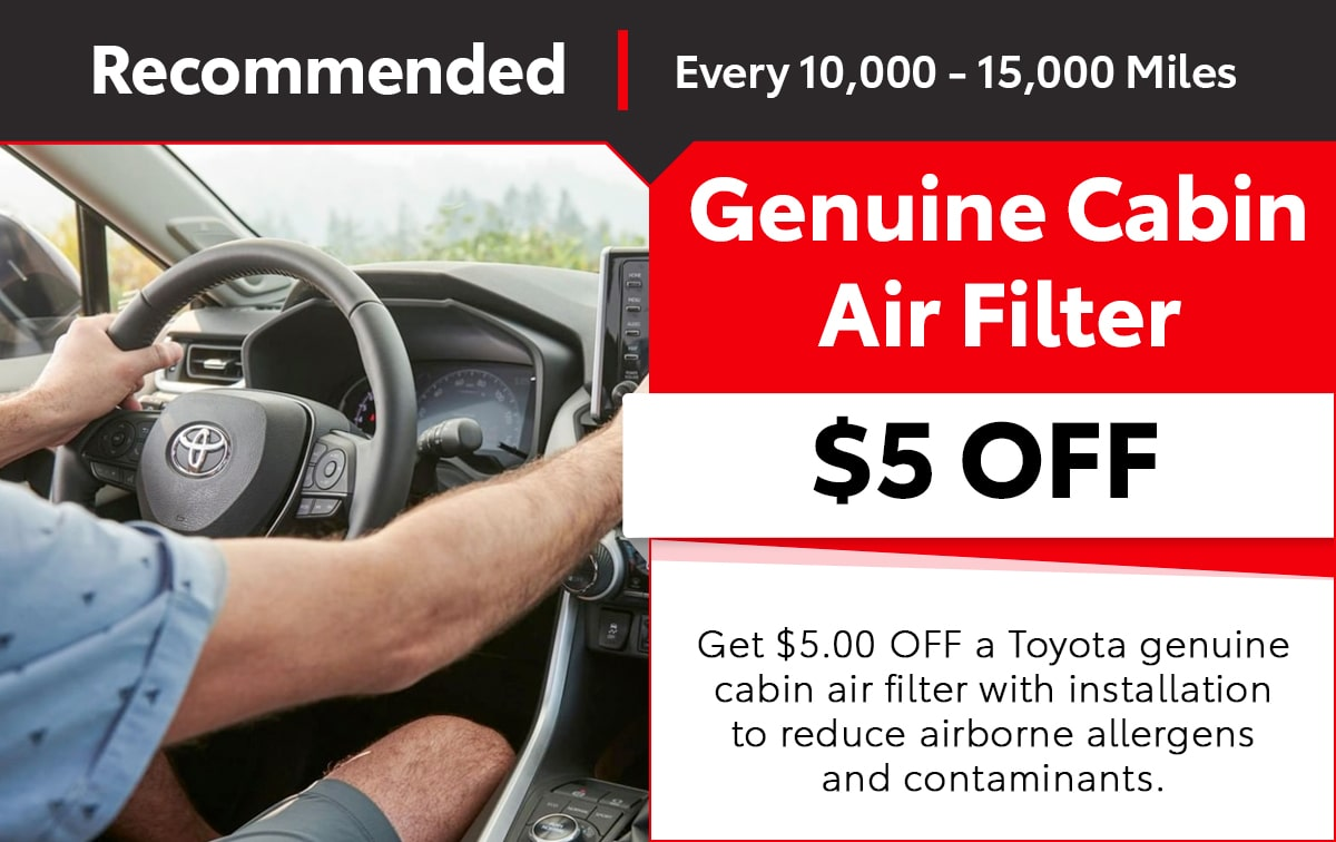 Toyota Genuine Cabin Air Filter Special Coupon