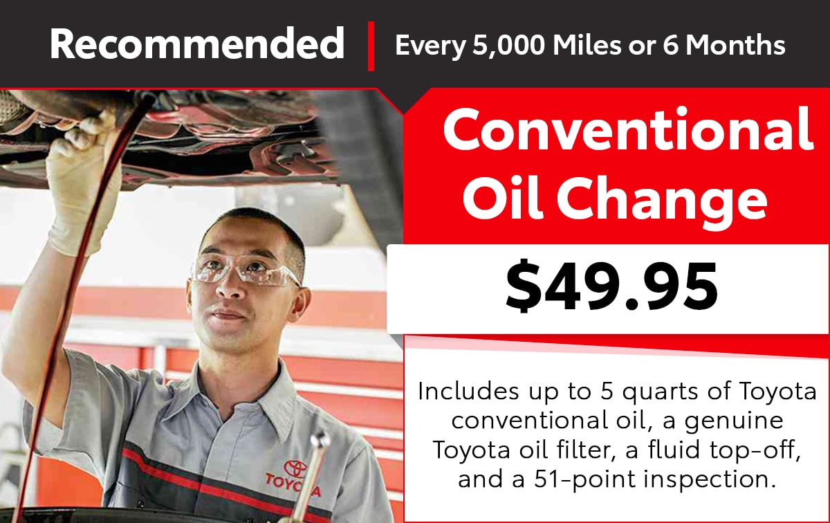Toyota Conventional Oil Change Service Special