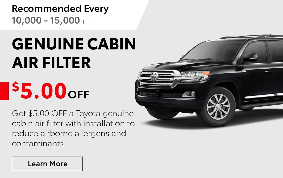 Toyota Genuine Cabin Air Filter Service Special Coupon