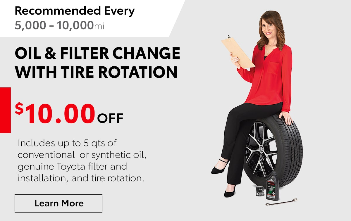 Toyota Oil & Filter Change With Tire Rotation Service Special Coupon