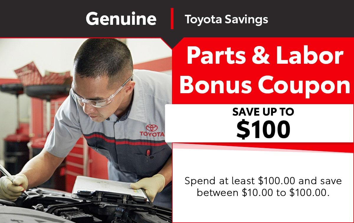 Toyota Parts Labor Bonus Special Coupon