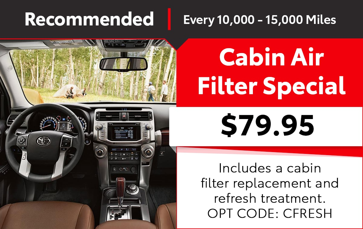 Toyota Cabin Air Filter Service Special Coupon