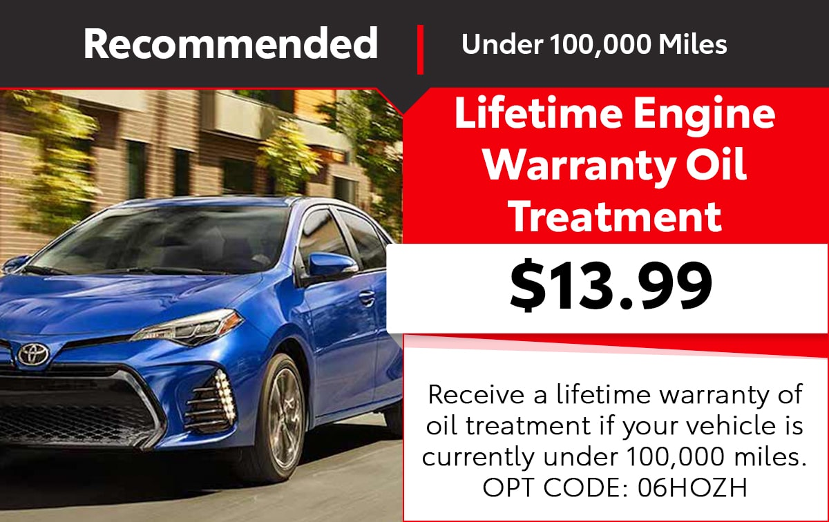 Toyota Lifetime Engine Warranty Oil Treatment Special Coupon