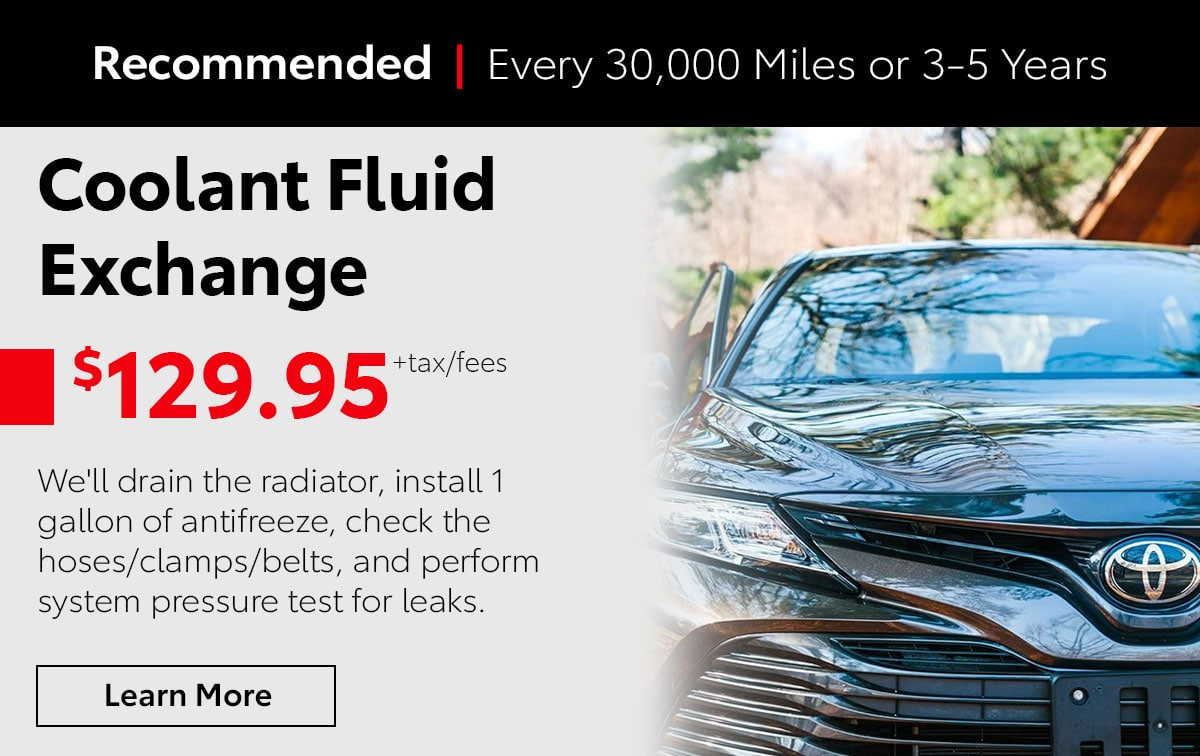 Toyota Coolant Fluid Exchange Service Special Coupon