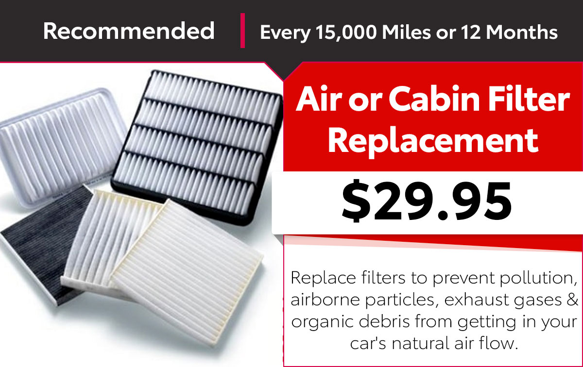 Toyota Filter Replacement Special Coupon