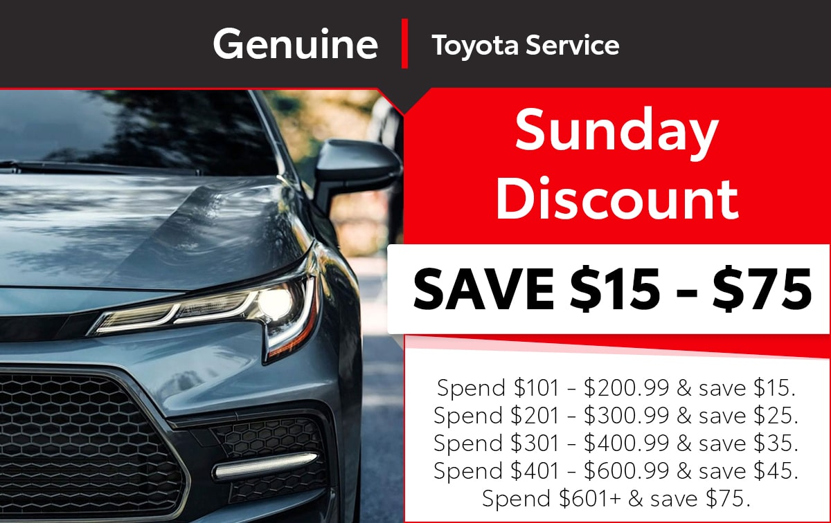 Toyota Sunday Discount Service Special Coupon