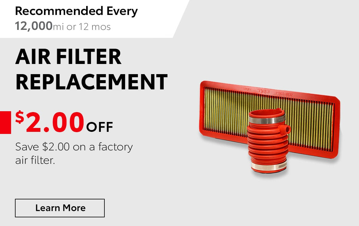 Toyota Air Filter Service Special Coupon