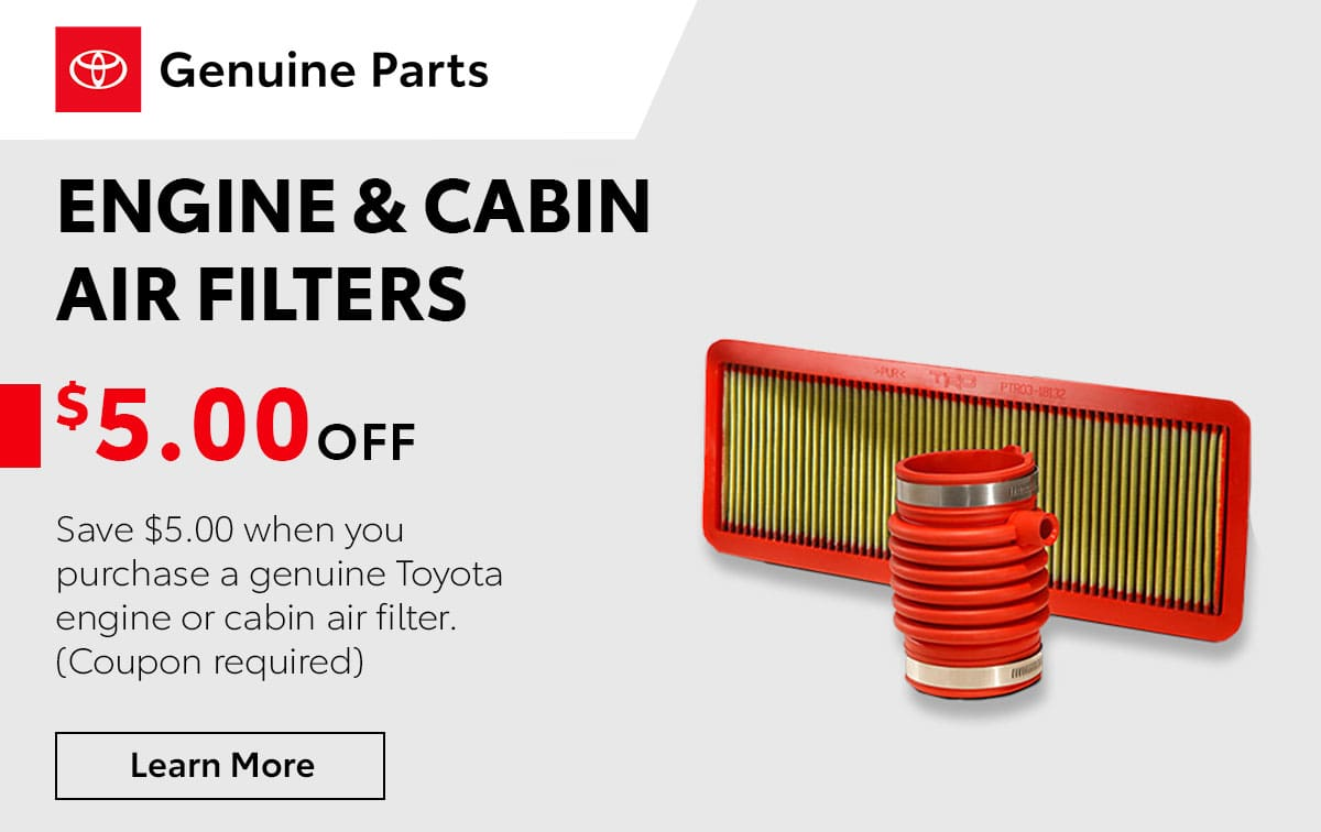 Toyota Engine & Cabin Air Filters Service Special Coupon