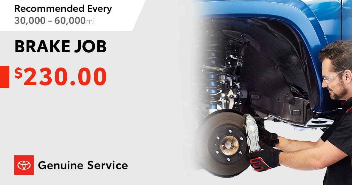 Toyota Brake Job Service Special Coupon