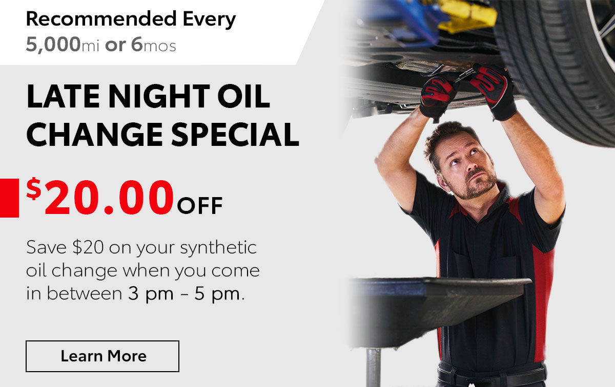 Toyota Late Night Oil Change Service Special Coupon