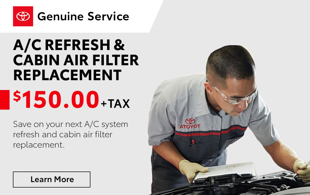 Toyota A/C Refresh & Cabin Air Filter Replacement Special Coupon