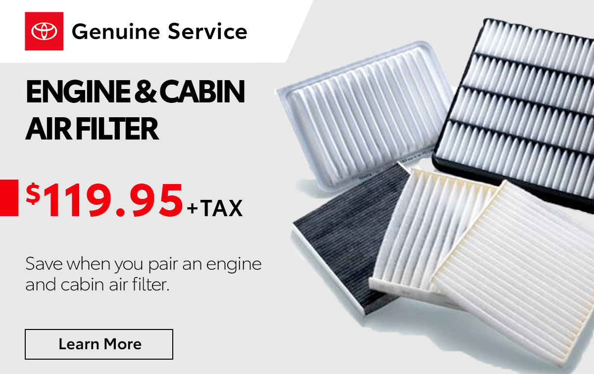 Toyota Engine & Cabin Air Filter Special Coupon
