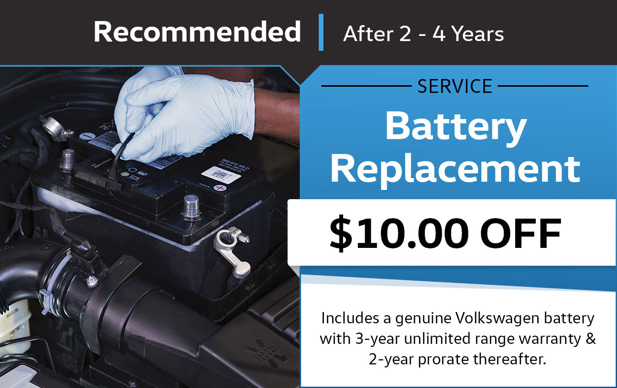 Volkswagen Battery Replacement Service Service & Parts Specials