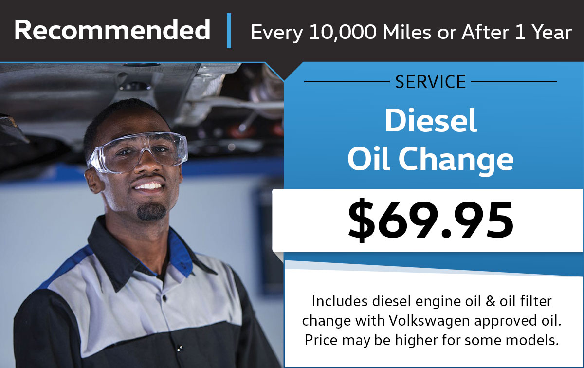 Volkswagen Diesel Engine - Full Synthetic Oil Change Service & Parts Specials