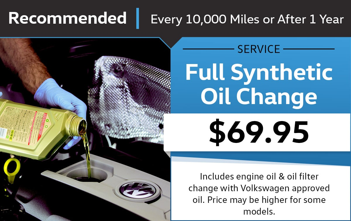 Volkswagen Full Synthetic Oil Change Service & Parts Specials