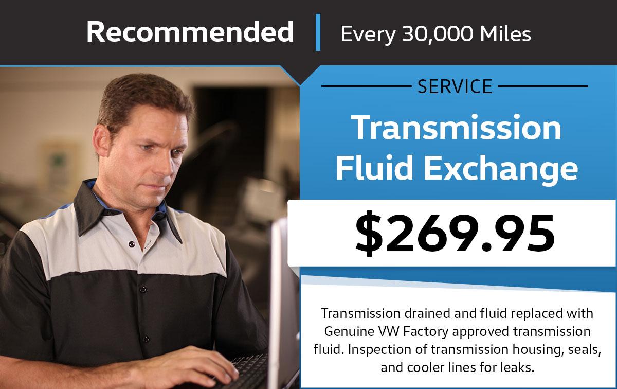 Volkswagen Transmission Fluid Exchange Service Service & Parts Specials