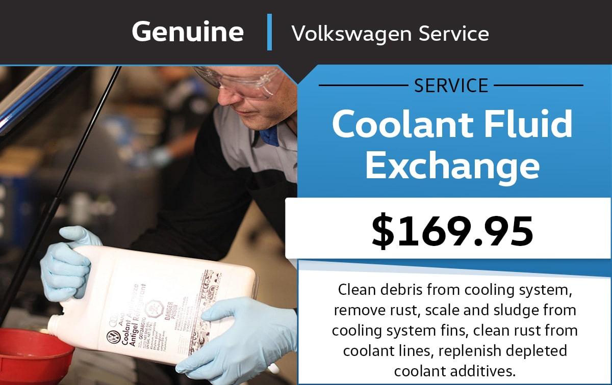 Volkswagen Coolant Fluid Exchange Service & Parts Specials