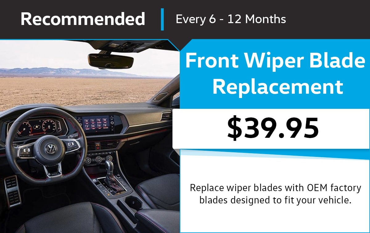 VW Front Wiper Blade Replacement Service Special Coupon