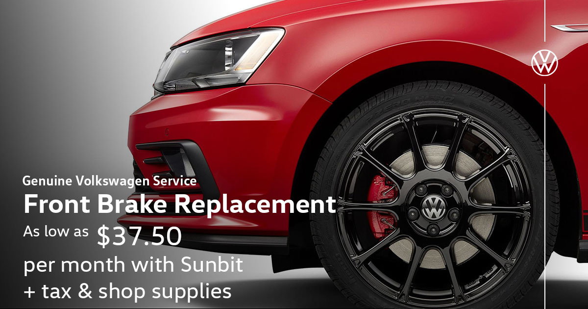 Volkswagen Front Brake Replacement Service Special Coupon