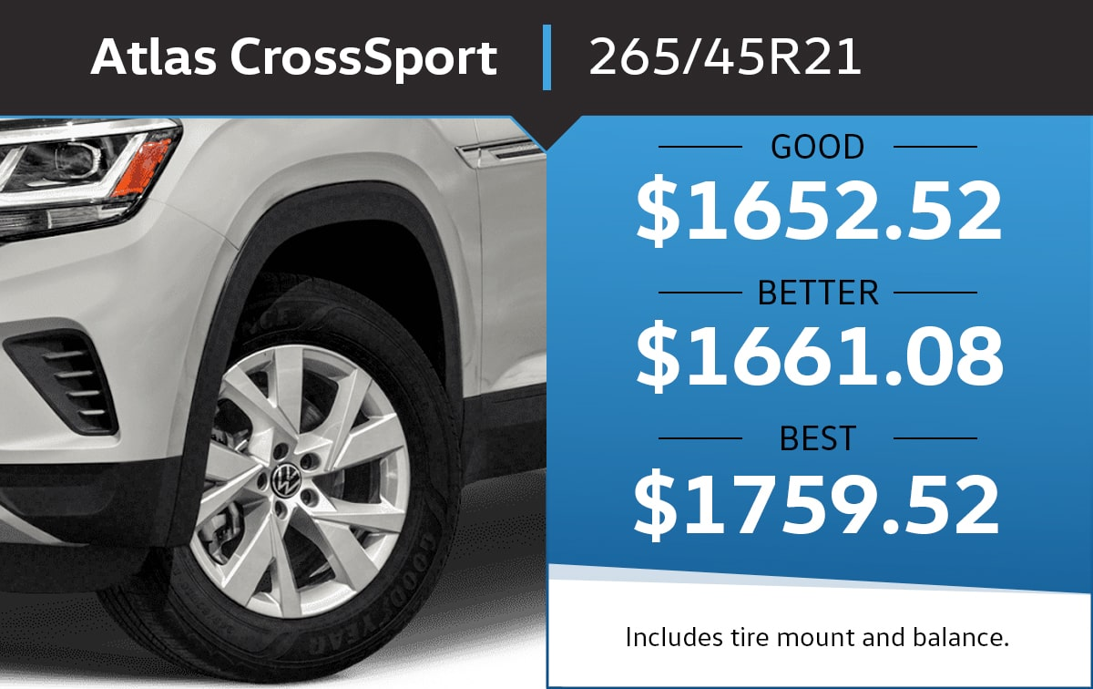 VW Atlas Cross Sport 265/45R21 Tire Special