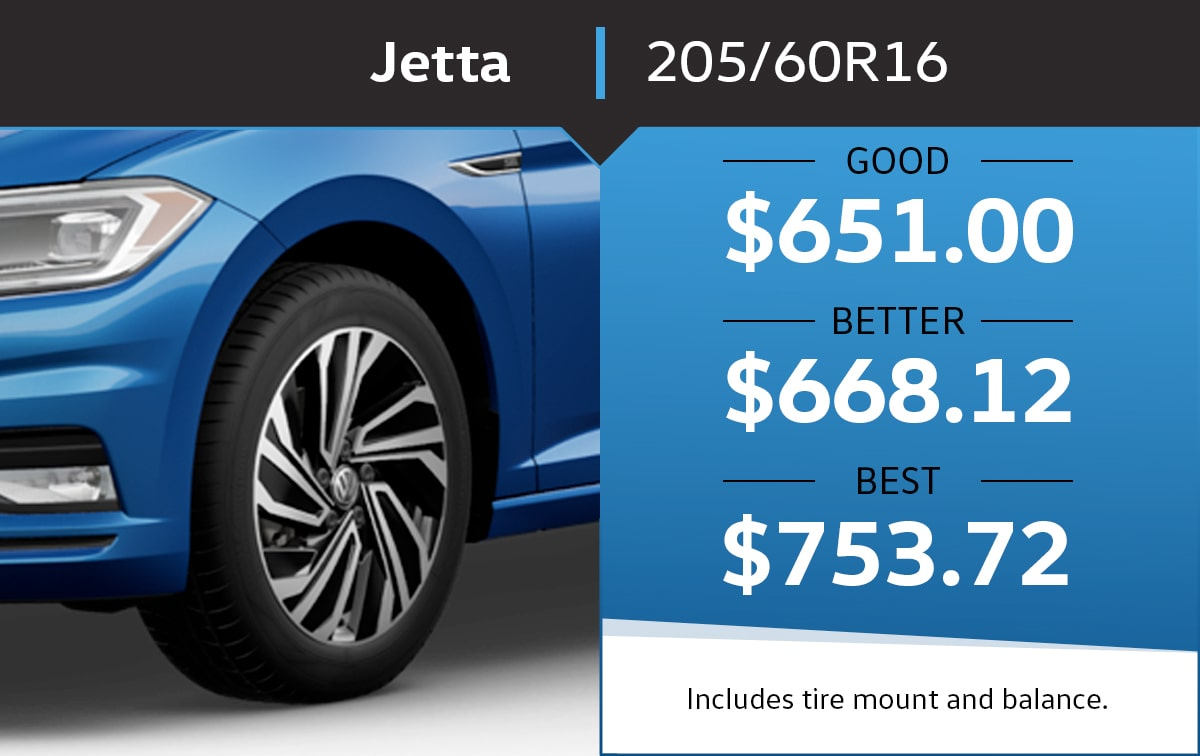 VW Jetta 205/60R16 Tire Special