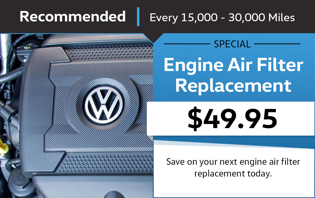 VW Engine Air Filter Replacement Service Special Coupon