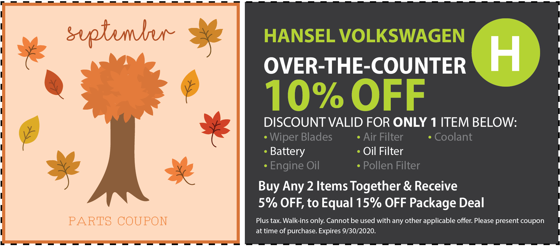 VW Over-The-Counter Special Coupon