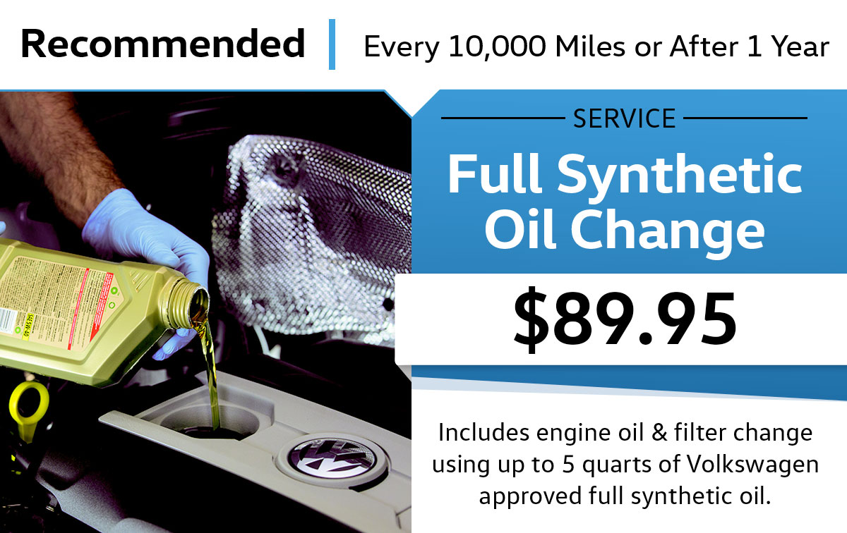 VW Full Synthetic Oil Change Service Special Coupon