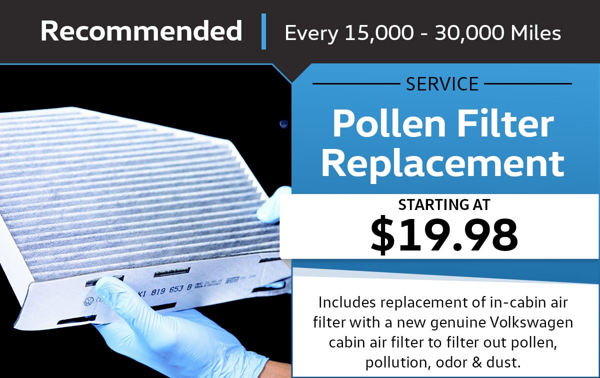 VW Pollen Filter Replacement Service Special Coupon