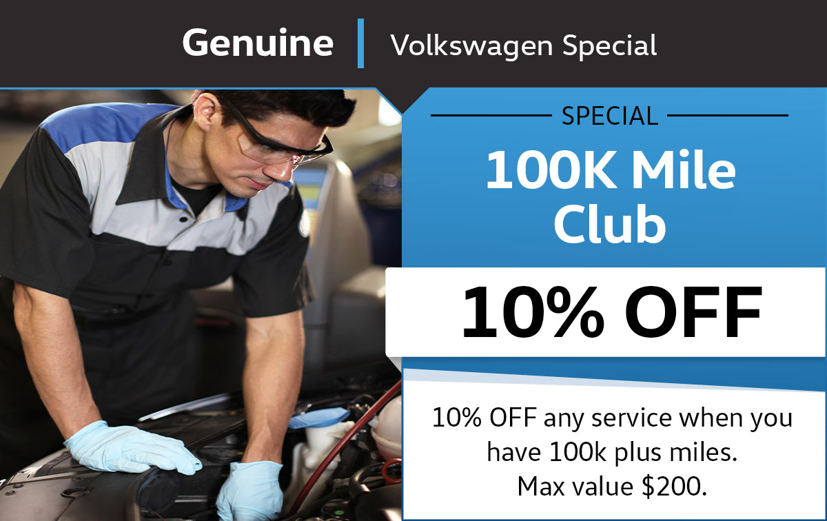 VW 100K Mile Club Service Special Coupon