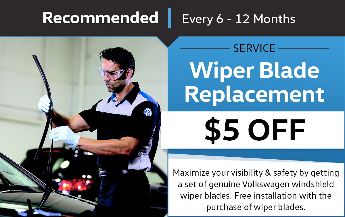 VW Windshield Wiper Blade Replacement Service Special Coupon