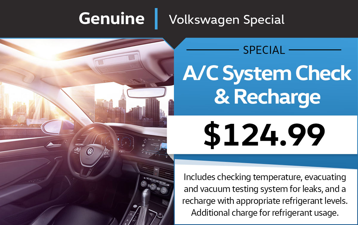 VW A/C System Check & Recharge Service Special Coupon