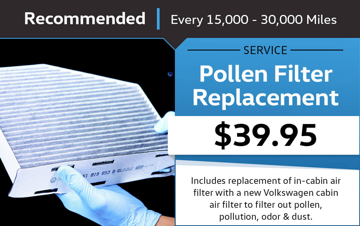 VW Cabin Air Filter Replacement Service Special Coupon