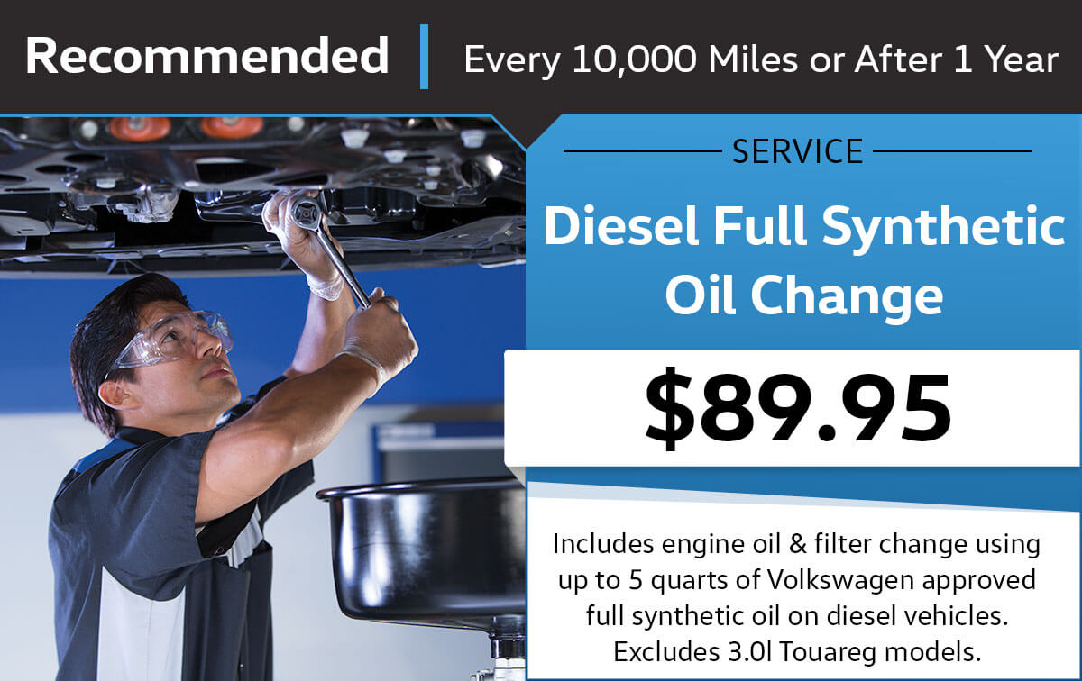 VW Diesel Full Synthetic Oil Change Service Special Coupon
