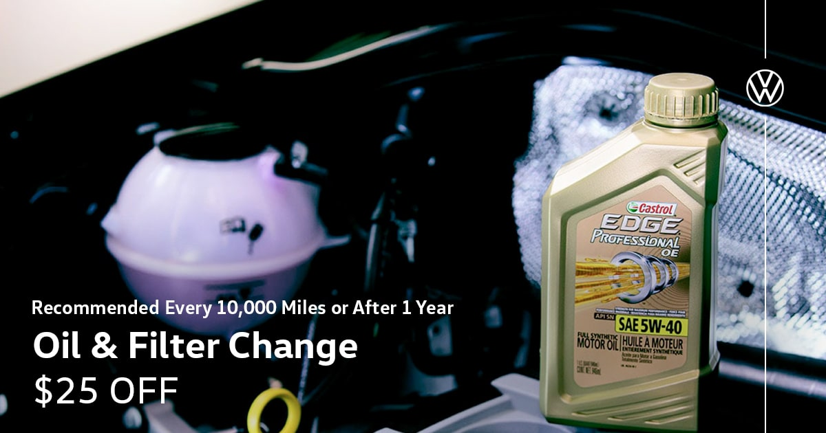 Volkswagen Oil and Filter Change Service Special Coupon