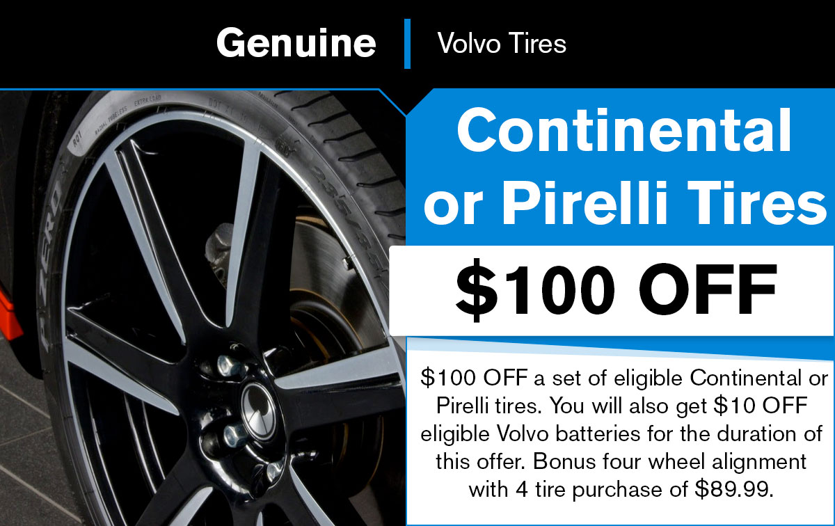 Volvo Continental or Pirelli Tire Special Coupon