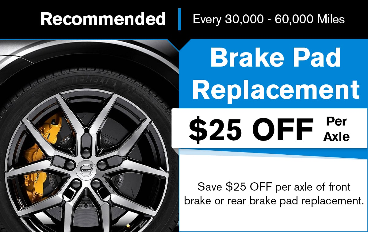 Volvo Brake Pad Replacement Service Special Coupon