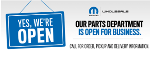 Our Parts Center Is Open